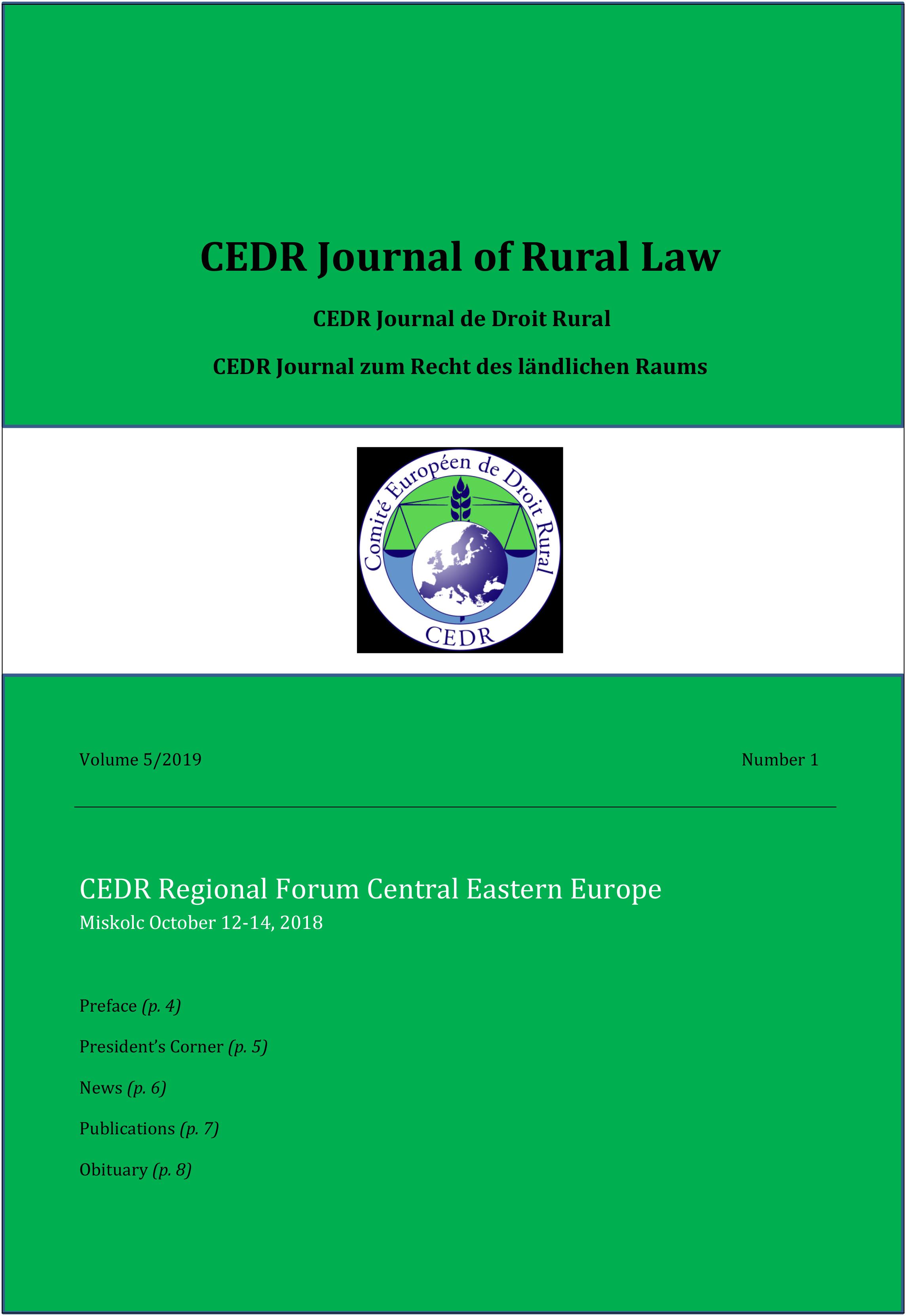 Journal of Rural Law Vol. 5 N°1, 2019