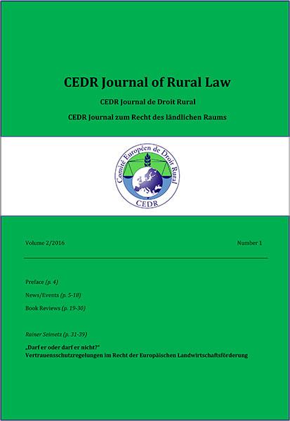Journal of Rural Law Vol.2, N°1 2016
