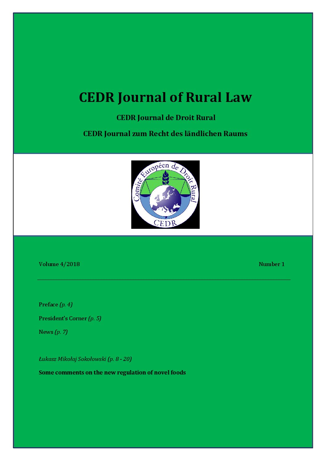 Journal of Rural Law Vol.4, N°1, 2018