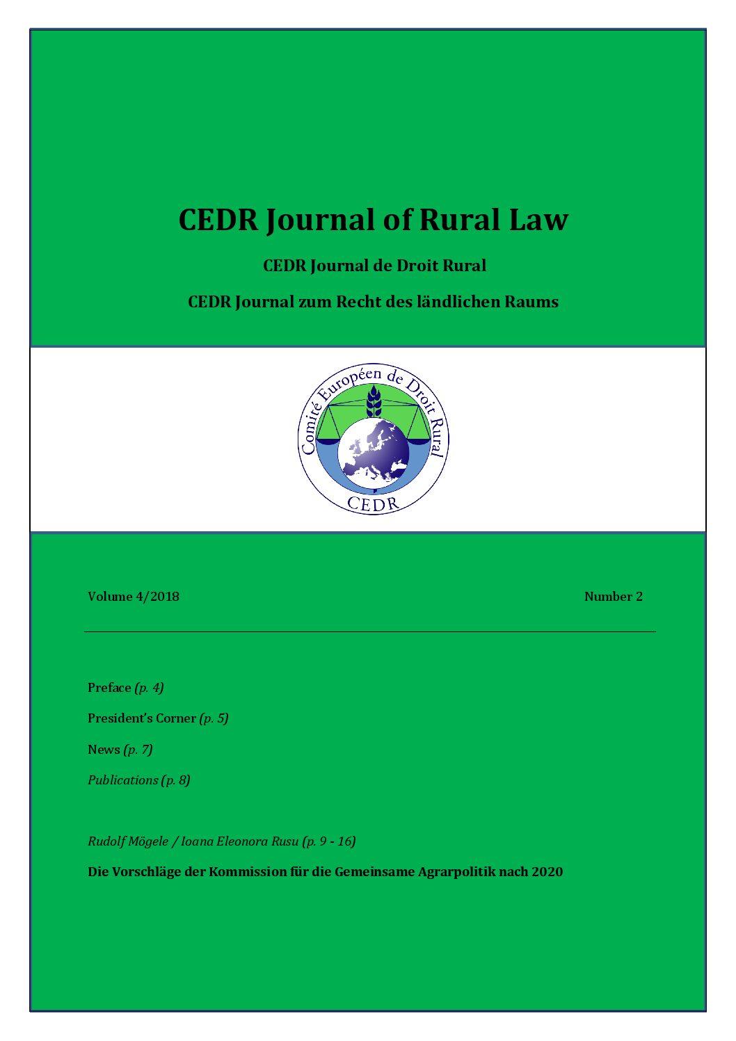 Journal of Rural Law Vol.4 N°2, 2018
