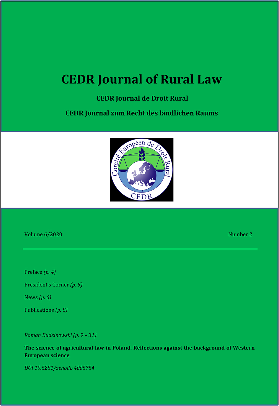 Journal of Rural Law Vol.6 No.2, 2020